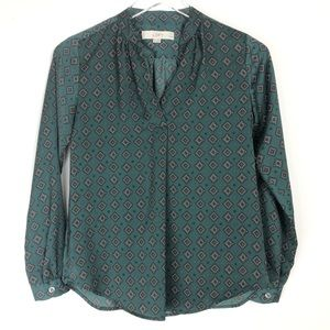 Loft | Green print v-neck long sleeves blouse